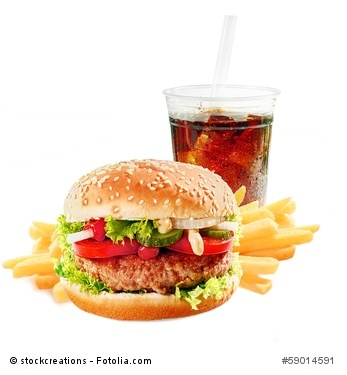 Hamburger with iced soda drink